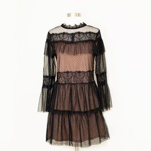Zara Black Mesh Dot Tiered Ruffle Dress XS